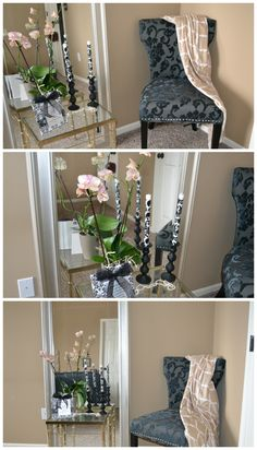 Simple Master Bedroom Decor: A decorative chair, a throw, a floor mirror, an end table, fresh flowers, candle sticks, and a picture frame!