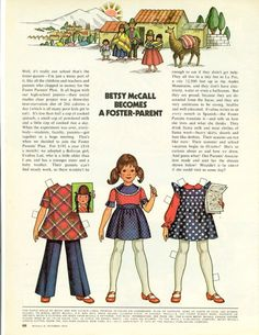 Vintage October 1973 Magazine Paper Doll Betsy McCall Becomes a Foster Parent