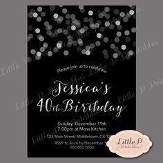 40th Birthday Invitation. Confetti Birthday by littlePprintables
