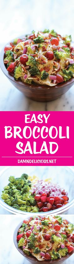 "Broccoli Salad - A healthy, hearty broccoli salad loaded with plump grapes and crunchy pecans tossed in a ""skinny"" Greek yogurt dressing!"