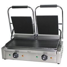 Contact Grill Grooved 1 800 W Gastro Panini Toaster Electrical Grill Plate Timer