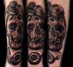 Just got this tattoo  #tattoo #oldpocketwatch #gear #skull