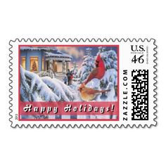 """Seasonal Scene Postage. Unique, trendy, chic and stylish Christmas holiday greetings mail stamps. With cute and fun image of seasonal winter snow landscape scenery, birds sitting in trees and """"Happy Holidays!"""" text. Original, elegant and classy stamps to personalize your December winter season wishes with."""