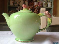 vintage teapot love -pretty green royal winton teapot