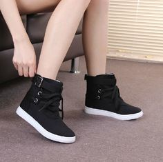 Free shipping spring and autumn women's casual shoes, sport shoes, black high-top canvas sneakers running shoes - http://www.freshinstyle.com/products/free-shipping-spring-and-autumn-womens-casual-shoes-sport-shoes-black-high-top-canvas-sneakers-running-shoes/