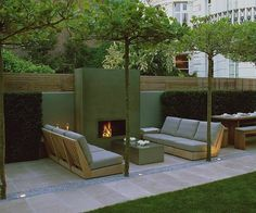 great looking-sv Outdoor fireplace, Luciano Giubbilei Outdoor Fire, Outdoor Lounge, Outdoor Rooms, Outdoor Gardens, Outdoor Living, Outdoor Decor, Roof Gardens, Backyard Fireplace, Backyard Patio
