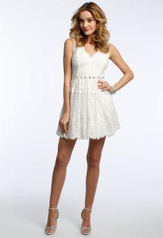 V-Neck Lace with Rhinestone Dress #camillelavie