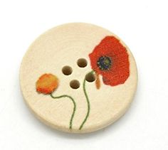 Pack of 10 Poppy Flower Print 4 Holes Wooden Round Buttons, for Sewing, Scrapbooking, Embelishments, Crafts, Jewellery making, shabby chic, Knitting, 25mm