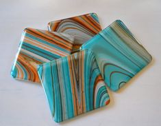 Shades of the Southwest Fused Glass Coasters by dortdesigns, $25.00