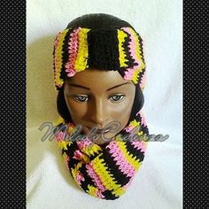 Women's Hot Pink/Yellow/Black Striped Infinity Scarf Set w/Striped Headband www.melodycadenzaclothing.com #Crochet #Handmade #Beanie