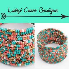 Bohemian Bead Cuff Multi-colored breads strung together to make a cuff that is one size fits most. BRAND NEW! Latest Craze Boutique Jewelry