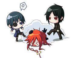 Chibi Ciel and Sebastian beating up Grell... poor Grell (;=n=)/