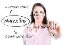 Young business woman writing marketing concept - customer, cost, convenience, communication. Stock Photography