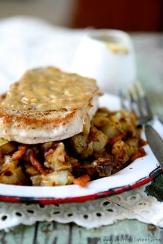 Pan-Seared Pork Chops with Maple Gravy and Apple Bacon Hash