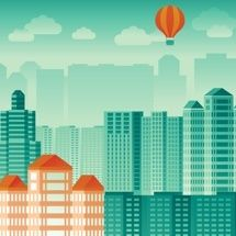 Vector urban concept in flat style - skyscrapers and modern tall buildings - city illustration