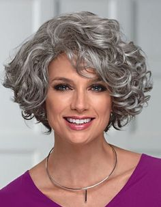 Elegant Women's Mid-Length Wig With Face-Framing Layers Of Loose Curly Synthetic Hair Capless Wigs Grey Curly Hair, Curly Hair Cuts, Short Curly Hair, Wavy Hair, Short Hair Cuts, Curly Hair Styles, 4c Hair, Curly Wigs, Thin Hair