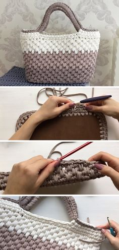 crochet tutorial In todays article we are going to take a look at a crocheted tote bag. We are going to visit an Etsy link for the pattern and some similar video guidelines as well. Bag Crochet, Crochet Motifs, Crochet Handbags, Crochet Purses, Crochet Socks, Knitting Patterns, Crochet Patterns, Loom Knitting, Crochet Designs