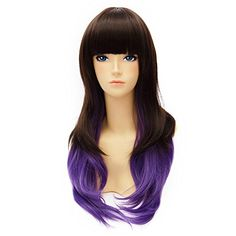 Cosplayvoice Fashion Dark Brown Mixed Purple Lolita Long Wavy Cosplay Wig * Click image for more details.