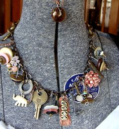 YOUR Found Objects Mixed w/ Trinkets and Treasures Repurposed into Junk Necklace: ReaganJuel. $55.00, via Etsy.