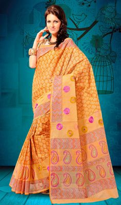Orange Shade Cotton Printed Embroidered Saree Look beautiful draped in this orange shade cotton embroidered saree. Saree is beautified with printed varied decorative patterns. Comes with a matching stitched round neck blouse with 6 inches sleeves. #CottonPrintedEmbroideredSaree #ShopLatestSilkCottonSarees