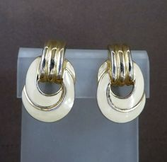 Trifari Cream & Gold Tone Earrings Vintage by LeesVintageJewels