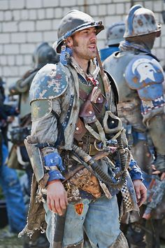 A vuldrok barbarian in piecemealed ceramasteel armour.  The vuldrok do not have family names rather clan names, which are more inclusive.  Leadership is more fluid certainly on the battle field.  Unlike the armies of the known world vuldrok clans have far more variation among them and are less standardize.