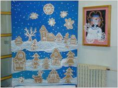Risultati immagini per zimní městečko ve výtvarce Christmas Art Projects, Christmas Artwork, Winter Art Projects, Easy Art Projects, Group Art Projects, School Art Projects, Christmas Crafts For Kids, Xmas Crafts, Elementary Art Lesson Plans
