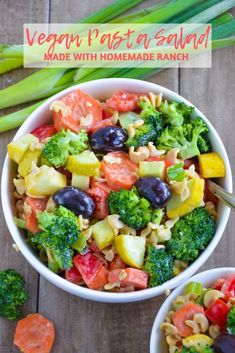 Vegan Pasta Salad | Full of healthy carbs, vegetables, and dairy free ranch, this plant based pasta salad has all you need to satisfy your carb cravings and get your dose of vegetables. It is gluten free and high in protein. Made with broccoli, carrots, red bell pepper, squash, olives, and chickpea pasta. | #pastasalad #glutenfree #vegan #dairyfree #healthyrecipe #pasta