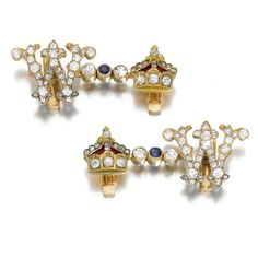 WILHELM I, GERMAN EMPEROR: A PAIR OF JEWELLED GOLD AND ENAMEL CUFFLINKS, PROBABLY GERMAN, CIRCA 1887 each link formed as W opposite a crown for Wilhelm I, German Emperor (1797-1888, r. 1871-1888), set with diamonds and a sapphire, apparently unmarked