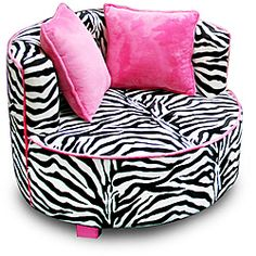 I want this for Kennedy@Overstock - Add a bit of whimsy to your child's room with this magnificent zebra chair. The plush chair features neon pink trim and a unique round design. The chair is small enough to fit into just about any space in your child's room.http://www.overstock.com/Home-Garden/Magical-Harmony-Kids-Minky-Zebra-Redondo-Chair/6291003/product.html?CID=214117 $129.99