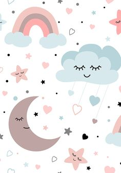 Sleepy moon, rainbow, dream big, smiling cloud  background for baby print.