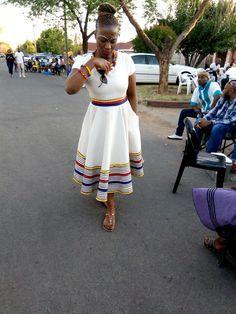 Shweshwe Dresses For Makoti New Bride 2019 - Fashionre Xhosa Attire, African Attire, African Wear, African Women, African Style, African Design, African Beauty, African Print Skirt, African Print Dresses