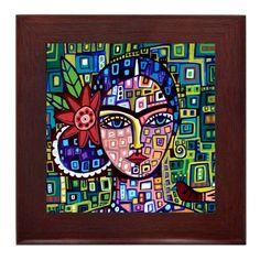 Frida Kahlo arte enmarcado Ceramic Tile impresión de Pintura Arte Popular listo para colgar, Firmado Arte Popular Mexicano