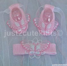 Hand knitted Baby Girl Ballet Booties and matching headband. Etsy just2cuteknits - $16 -No pattern - just idea.