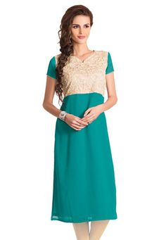 Teal Blue and Beige Faux Georgette and Net Readymade Long Kurta