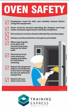 A kitchen safety poster explaining safety practices in using oven, a must for for restaurant, hotel, cafeteria, school or church kitchen. Health And Safety Poster, Safety Posters, Food Safety And Sanitation, Food Safety Training, Home Safety Tips, Safety Rules, Restaurant Business Plan, Safety Management System, Culinary Classes