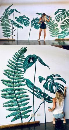 Wall Decor For Your Living Room Tropical Mural by pepallama at Selina Nosara cASINO: mi-ange, mi-dia Creative Wall Painting, Wall Painting Decor, Mural Wall Art, Painting Art, Painted Wall Art, Body Painting, Naruto Painting, Pichwai Paintings, Acrylic Wall Art