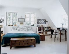 bedroom with office space