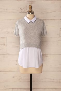 Arese - Grey and white layered collared blouse