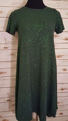 LuLaRoe Elegance Collection XXS Green Carly w/ Green Rhinestones Unicorn HTF  #LulaRoe