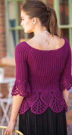 Colorful Crochet Lace: Ribbed Crochet Pullover by Mary Jane Hall Peplum Top Pattern, Crochet Vest Pattern, Crochet Jacket, Crochet Blouse, Crochet Patterns, Ribbed Crochet, Knit Crochet, Crochet Dishcloths, Black Crochet Dress