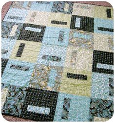 Blue & green quilt made with Keepsake Calico fabric :)