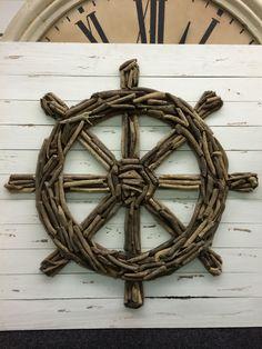 DIY sailboat steering wheel made of driftwood bits