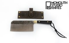 """Hammered 6"""" Cleaver and Sheathe. CPM-154 Stainless with Brass Hardware and Brass Dust in Black Resin Handle - Monolith Studio Knives"""
