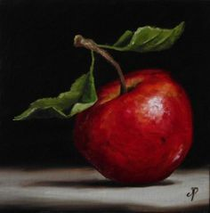 Red Apple, J Palmer Daily painting Original oil still life