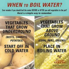 #3 Cooking vegetables with cold water or boiling water.