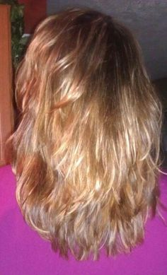 Light brown layered hair with caramel & blonde highlights...