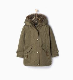Image 1 of Parka with faux fur hood from Zara
