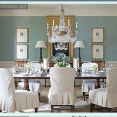 Beautiful blue dining room.