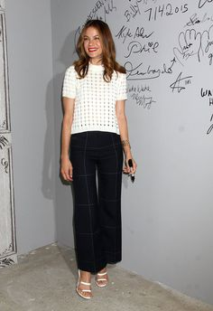 Punch up a neutral outfit by adding a simple pattern -- Michelle Monaghan in Calvin Klein